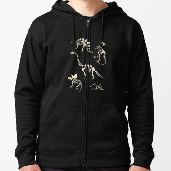 Dinosaur Fossils in Black Zipped Hoodie