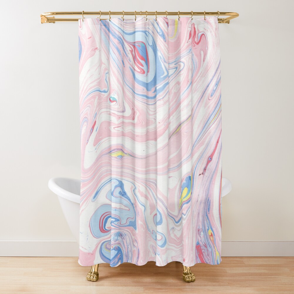 Pink Marble Luxury Rose Pastel Abstract Modern Art Shower Curtain