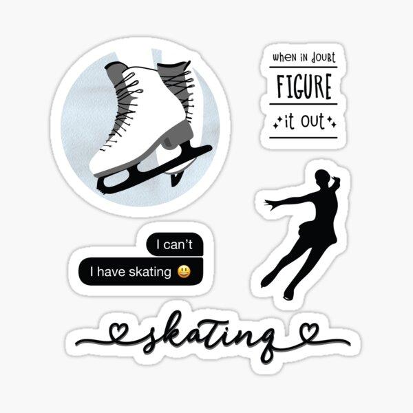 Black Watercolor Ice Skater, Figure Skating Sticker Pack Sticker