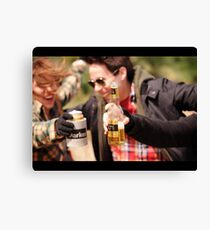 Beer Drinking Canvas Print