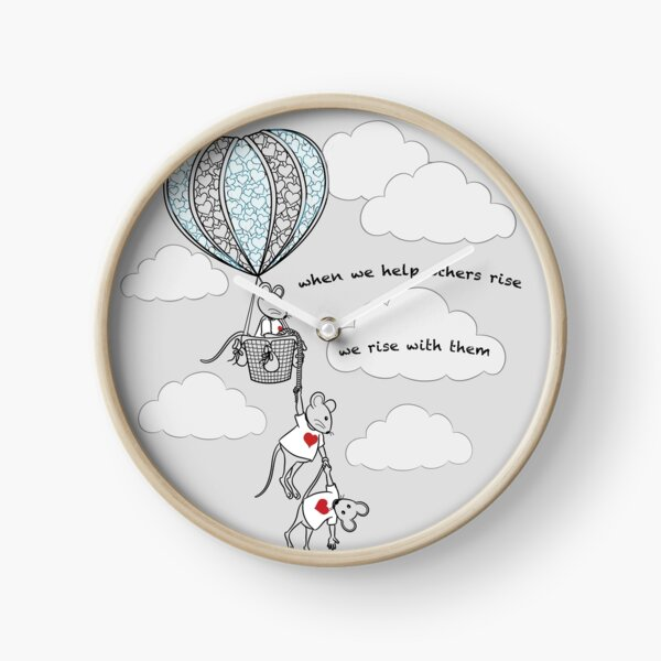 MantraMouse® Help Others Rise Cartoon with Color on Gray Background Clock