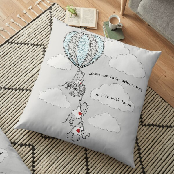 MantraMouse® Help Others Rise Cartoon with Color on Gray Background Floor Pillow