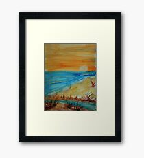 Bright  Orange Sunset on Shoreline, watercolor Framed Print