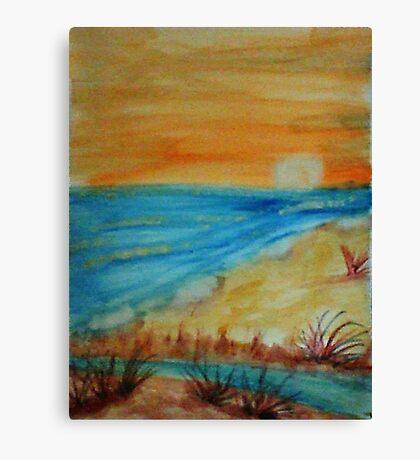 Bright  Orange Sunset on Shoreline, watercolor Canvas Print