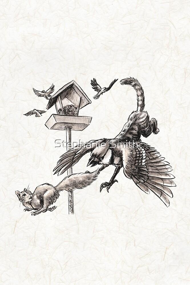 Blue Jay Miniature Griffin Defending the Birdfeeder by Stephanie Smith