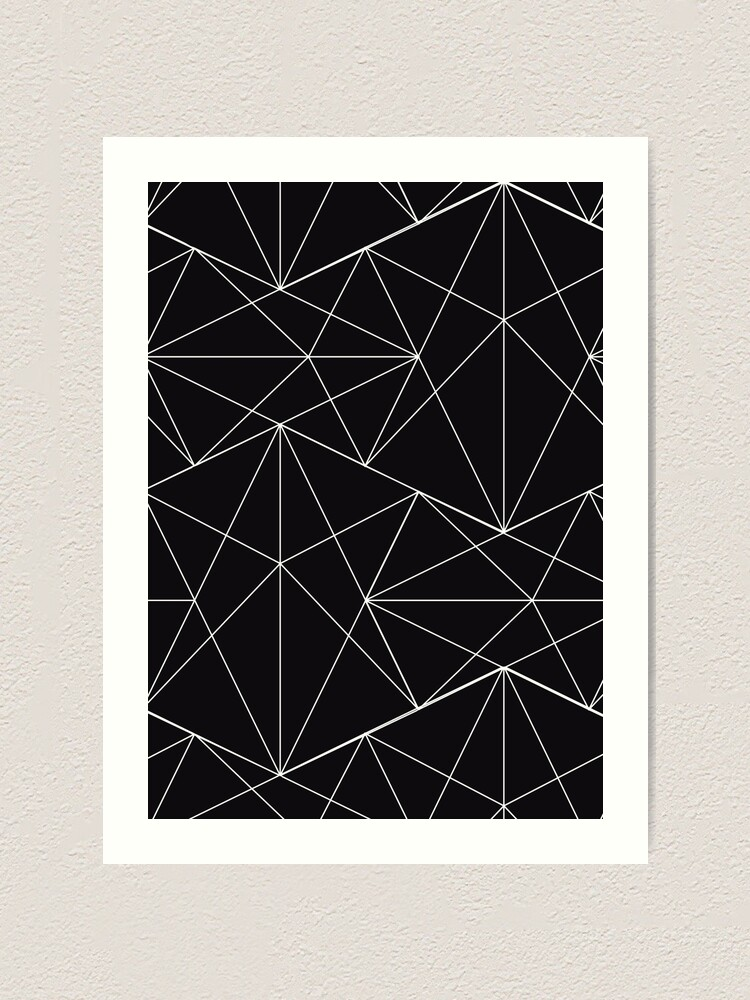 Black And White Asymmetrical Triangle Retro 80s Genx Aesthetic Pattern Black Background Hd High Quality Online Store Art Print By Iresist Redbubble