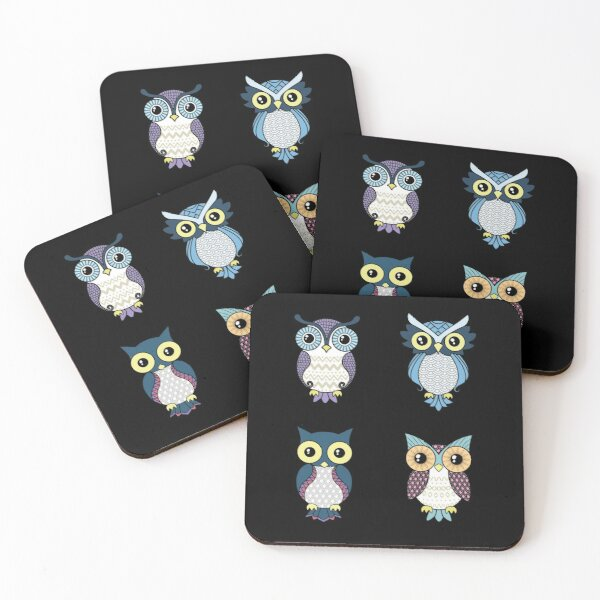 Owl pattern Coasters (Set of 4)