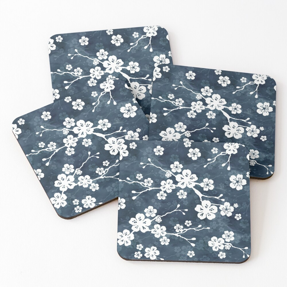 Navy and white cherry blossom pattern Coasters (Set of 4)