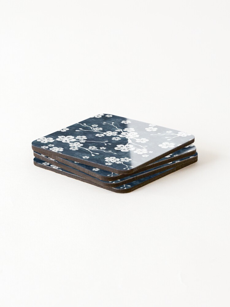 Alternate view of Navy and white cherry blossom pattern Coasters (Set of 4)