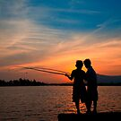 Boys fishing on the Kampot River by Rob Dougall