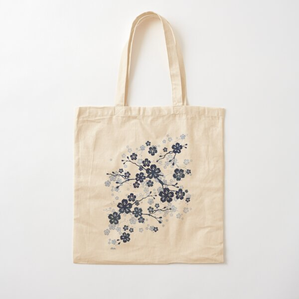 Navy and white cherry blossom pattern Cotton Tote Bag