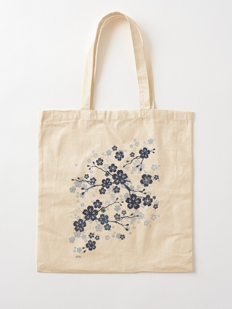 Alternate view of Navy and white cherry blossom pattern Tote Bag