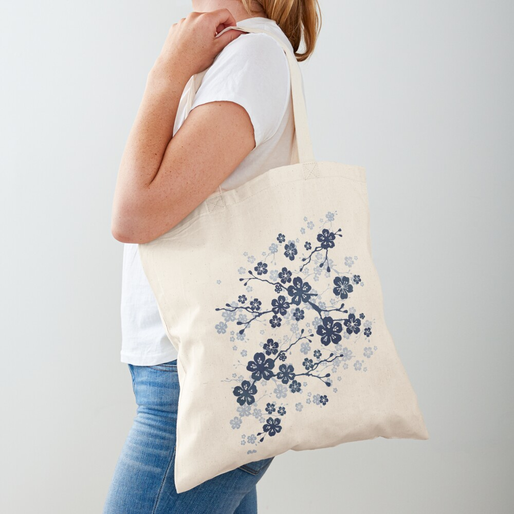 Navy and white cherry blossom pattern Tote Bag