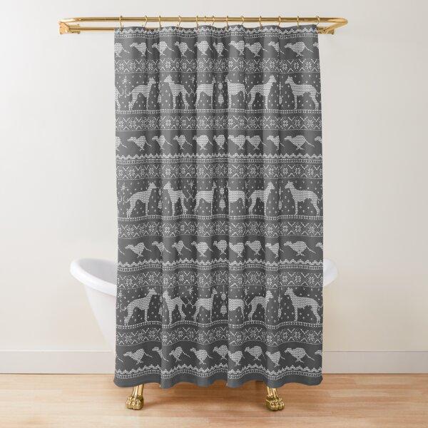 Ugly Christmas sweater dog edition - Greyhound/Whippet/Italian Greyhound Shower Curtain