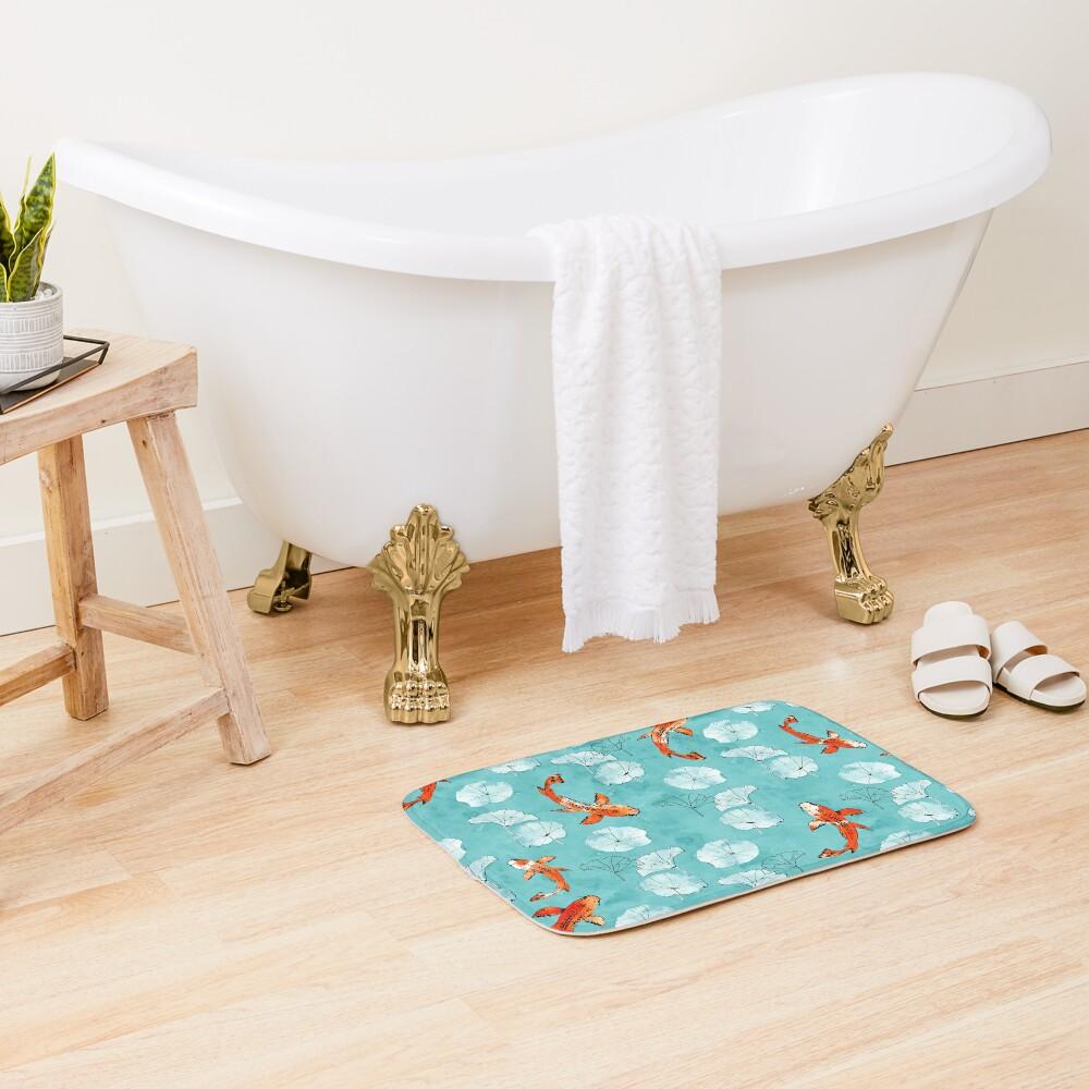 Waterlily koi in turquoise Bath Mat