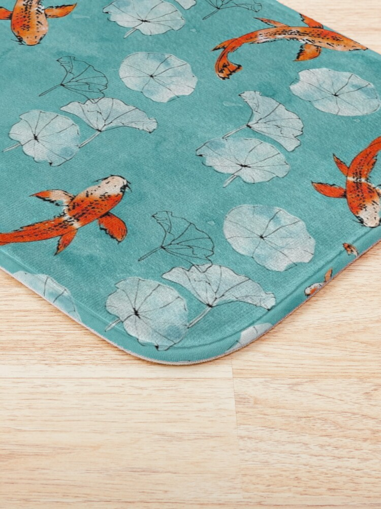 Alternate view of Waterlily koi in turquoise Bath Mat