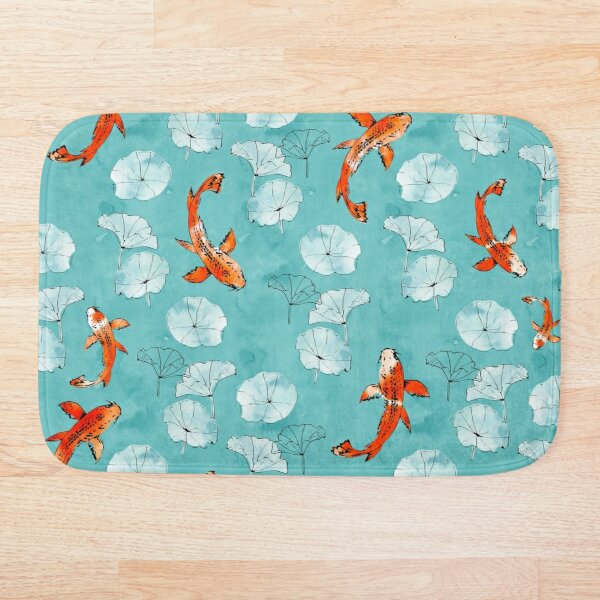 Waterlily koi in turquoise Bath Mat