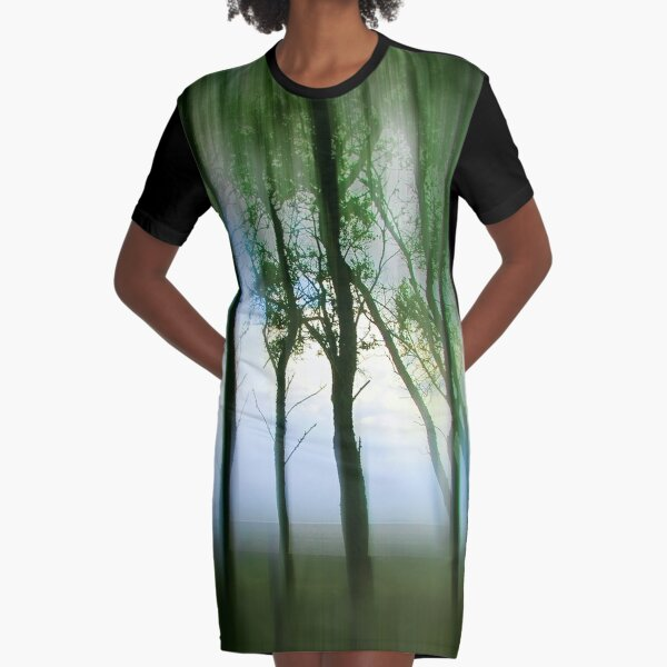 Morning Tree Silhouettes Graphic T-Shirt Dress