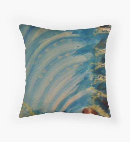 Watching  Waterfall from Topside, watercolor Throw Pillow