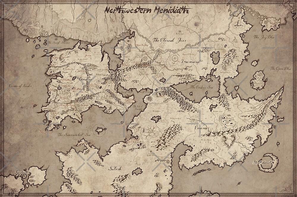 Menidiath world map - fantasy map by zachholmbergart