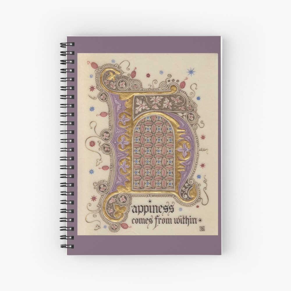 Medieval Illumination - Happiness  Spiral Notebook