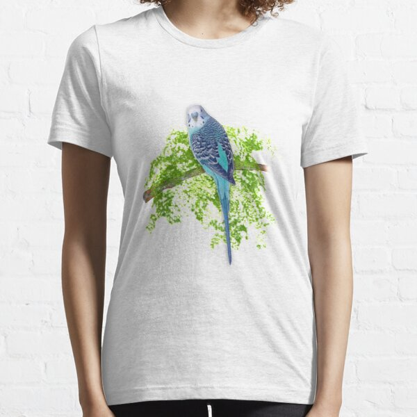 Blue Budgie on Green Essential T-Shirt