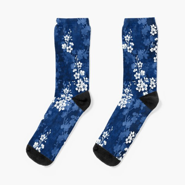 Sakura blossom in deep blue Socks