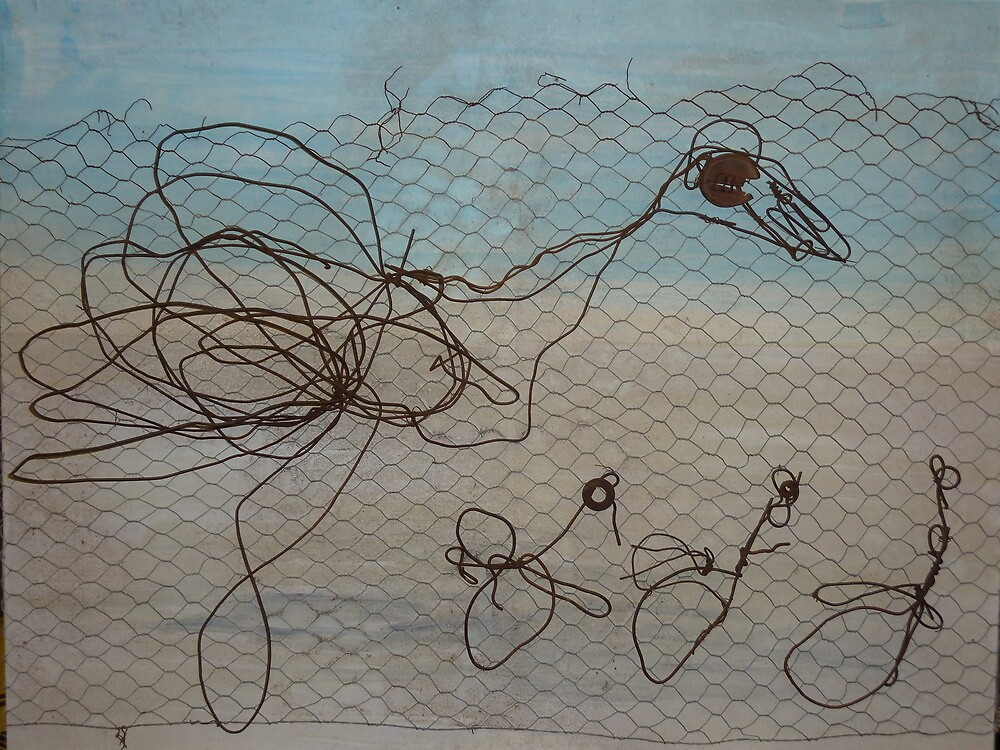 On the Run - 2D Wire Emus by SusanLawrance