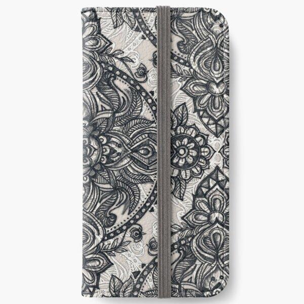 Charcoal Lace Pencil Doodle iPhone Wallet