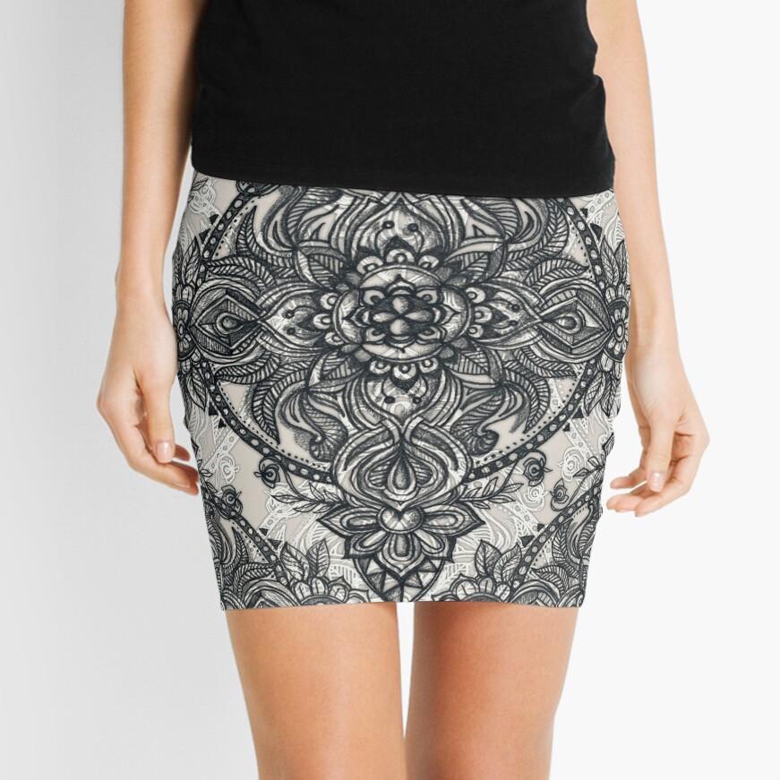 Charcoal Lace Pencil Doodle Mini Skirt