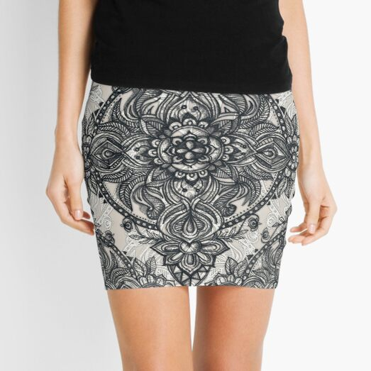 Charcoal Lace Pencil Doodle Mini Skirt