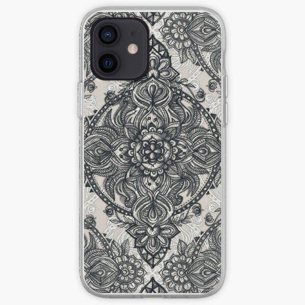 Charcoal Lace Pencil Doodle iPhone Soft Case