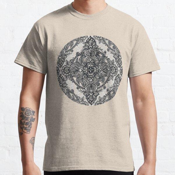 Charcoal Lace Pencil Doodle Classic T-Shirt