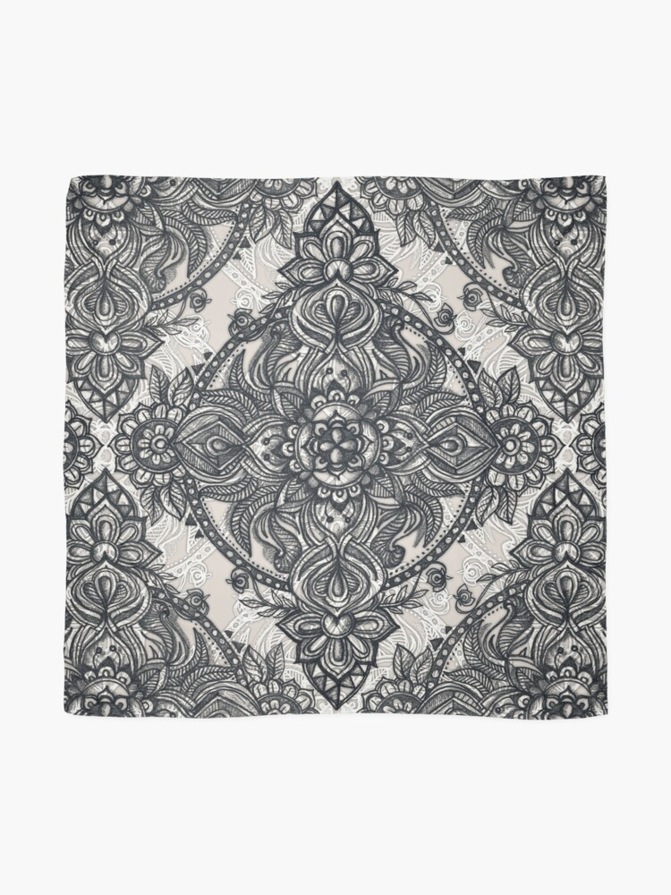 Alternate view of Charcoal Lace Pencil Doodle Scarf