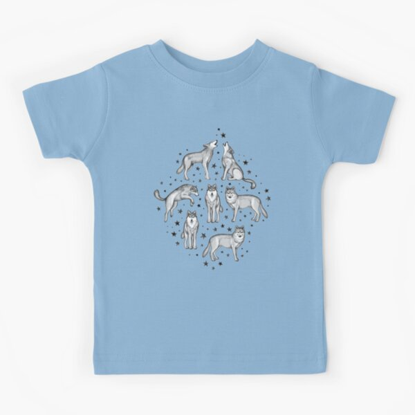 Wolves and Stars on White Kids T-Shirt