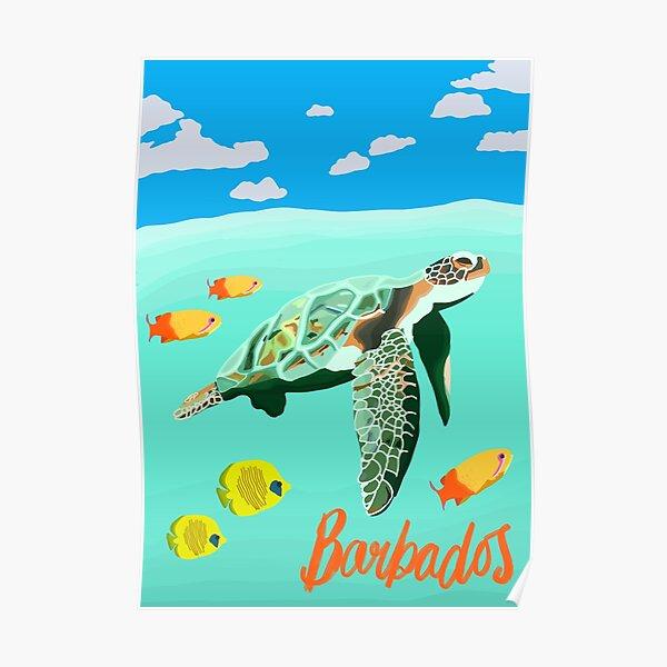 Barbados Turtle Travel Artwork Poster