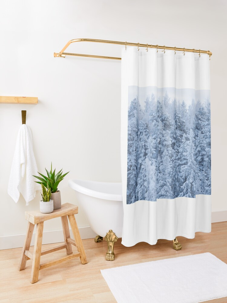 Alternate view of Trees covered in snow Shower Curtain