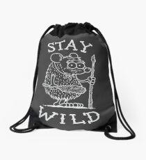 Stay Wild - White Drawstring Bag