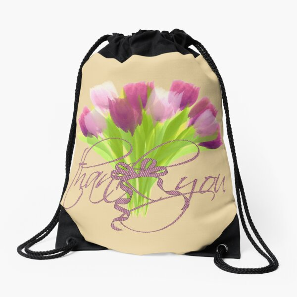 Bright Pink Tulips Thank You Drawstring Bag