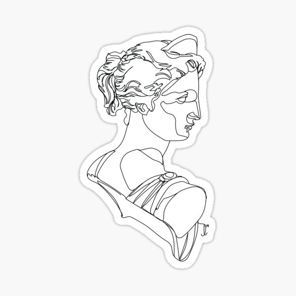 Artemis 5, Greek Statue - One Line Drawing Sticker