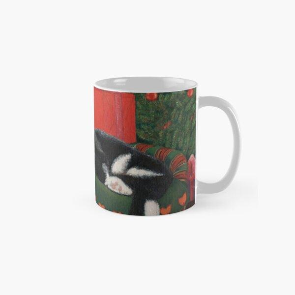 A Sleeping Cat Next to a Christmas Tree Classic Mug