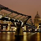 Millennium Bridge & St Paul's Cathedral, London by strangelight