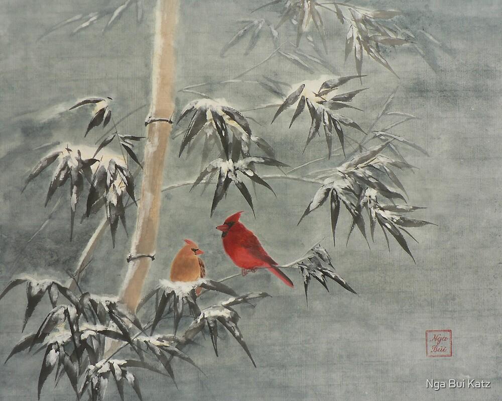Snow Bamboo and Cardinals by Nga Bui Katz