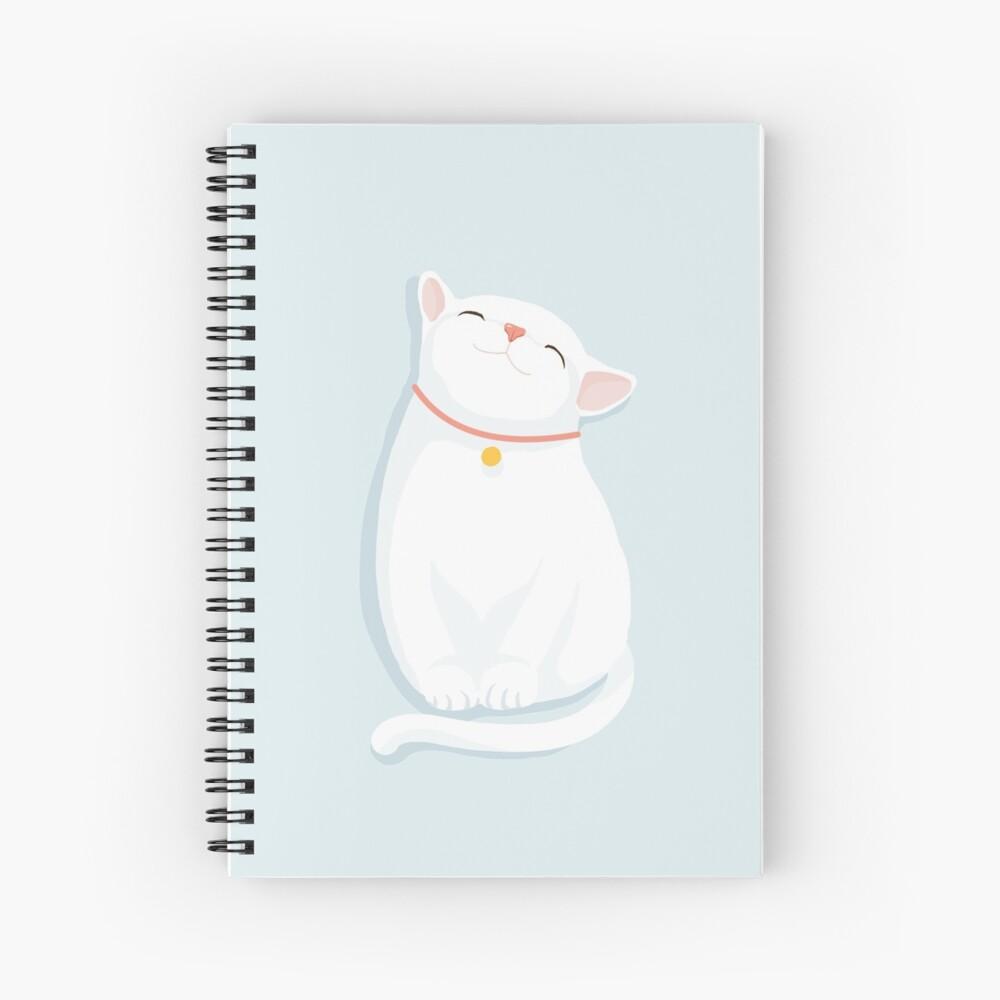 Cat White Spiral Notebook