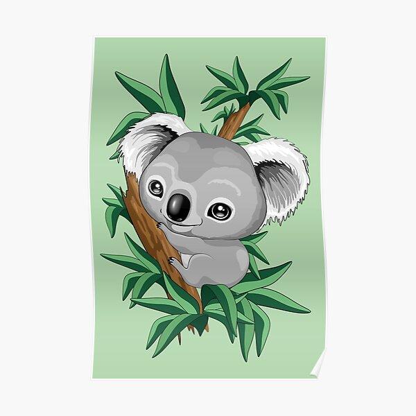 Koala Baby on the Eucalypt Branch Poster