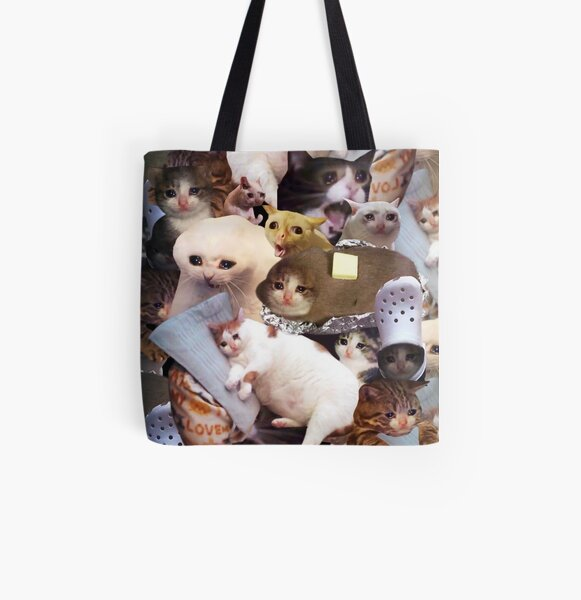 Crying Cat Memes All Over Print Tote Bag