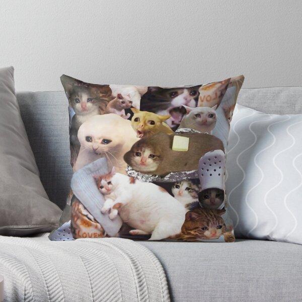 Crying Cat Memes Throw Pillow