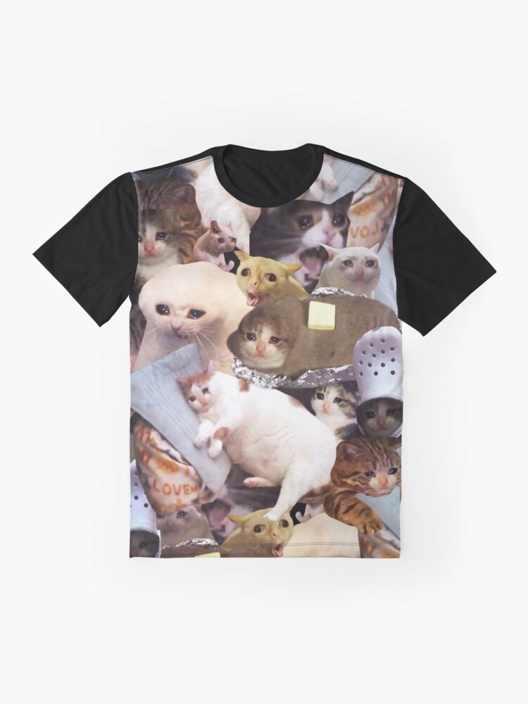 Alternate view of Crying Cat Memes Graphic T-Shirt