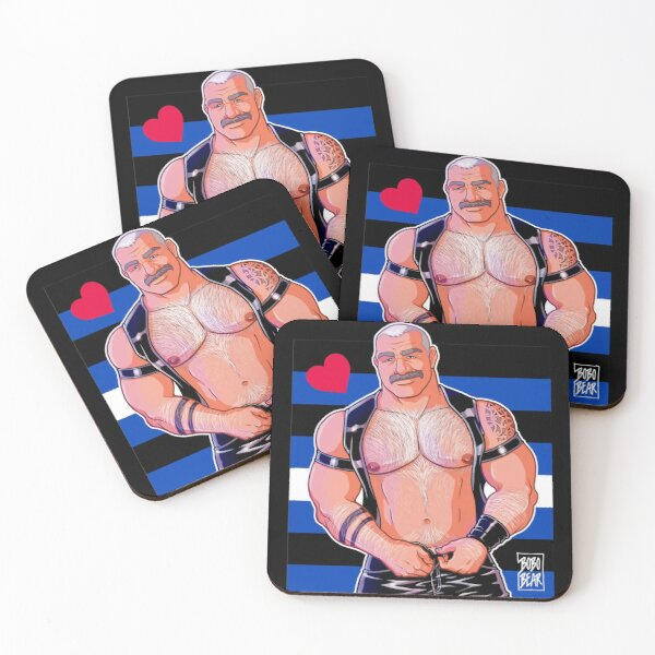DADDY LIKES LEATHER - LEATHER PRIDE FLAG Coasters (Set of 4)