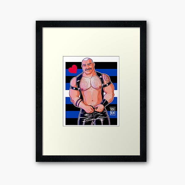 DADDY LIKES LEATHER - LEATHER PRIDE FLAG Framed Art Print